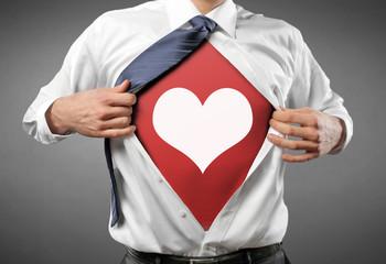 Man open Shirt with Heart