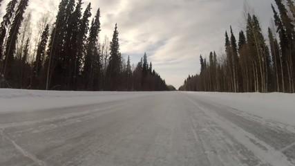 Highway Alaska Snow Trail