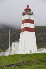 Exterior of the old lighthouse in Alnes, Norway.