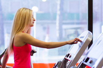 young girl on treadmill