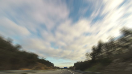 Fast Driving on the Highway, timelapse