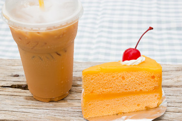Iced coffee and orange cake