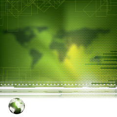 Abstract green global futuristic background