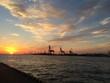 canvas print picture - Sonnenuntergang im Hafen