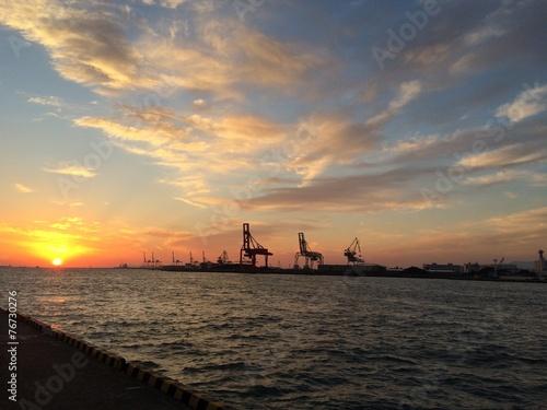 canvas print picture Sonnenuntergang im Hafen