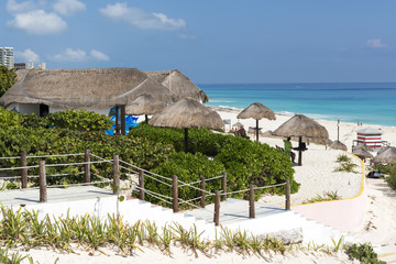 A view of Cancun beach on the Yucatan, Mexico.