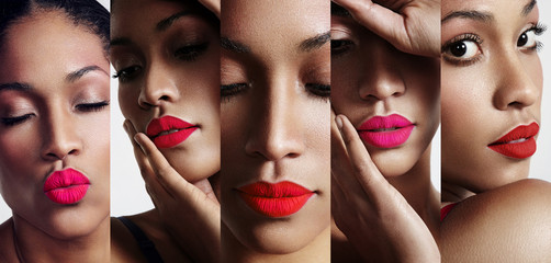 all about lips collage. cutted woman's portraits with a bright l