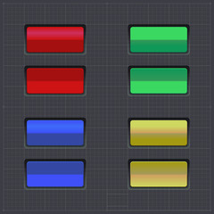 Set of colored buttons. Web element.