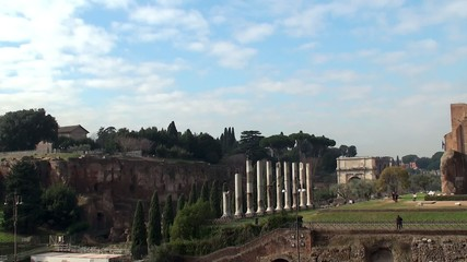 View of Palatine Hill and Roman Forum from the Coliseum. Rome