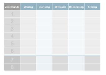 Schul-Stundenplan, 8 Schulstunden