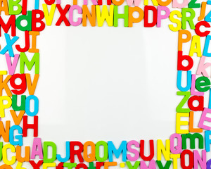 Alphabet magnets forming frame on whiteboard