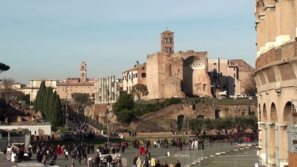 Crowd of tourists at the Roman Forum near the Colosseum