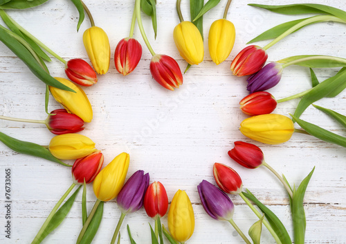 Foto op Canvas Tulp Herz aus Tulpen