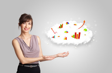 Young woman presenting cloud with graphs and charts