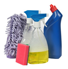 cleaning equipment .colored plastic bottles with Detergent
