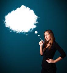 Young woman smoking unhealthy cigarette with dense smoke