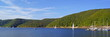 canvas print picture - Rursee mit Naturpark Eifel
