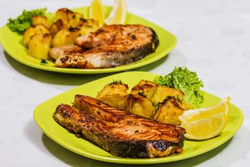 Grilled Salmon with Salad, lemon and potatoes