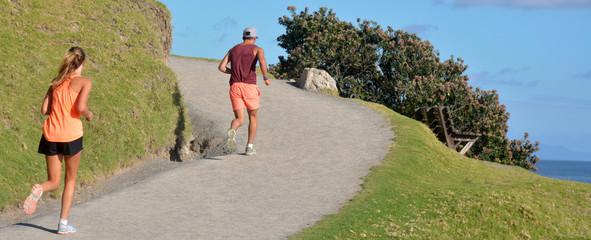 Couple runs outdoor