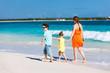 Family at Caribbean beach