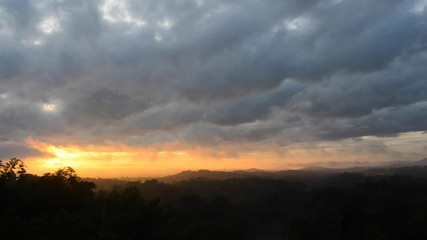 Movement of cloud at sunrise on the mountain, time lapse.