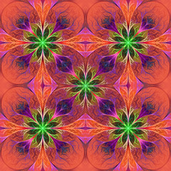 Pattern from fractal flowes in purple and green. Computer genera