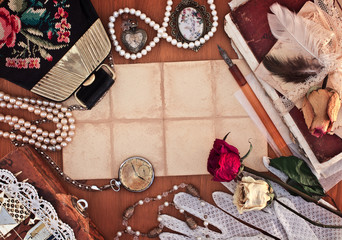 Old female jewelry, bag and white lace gloves