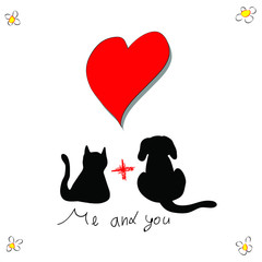 Cat with dog for love greeting card