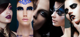 Beauty Collage. Women with Unusual Makeup