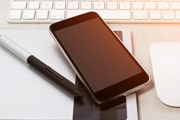 Tech device mock up on office background