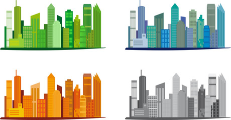 Stadt-Skyline in verschiedenen Farben, Vektor