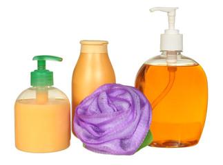 Closed Cosmetic Or Hygiene Blue Plastic Bottle Of Gel, Liquid
