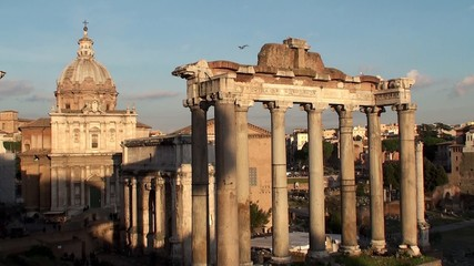 Temple of Saturn at the Roman Forum. Italy.