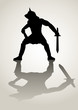 Silhouette illustration of a gladiator in ready to fight stance