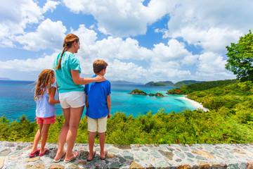 Family at Trunk bay on St John island