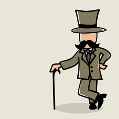Doodle illustration of a man with mustache
