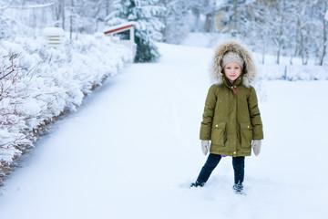 Little girl outdoors on winter