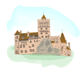 Colored sketch of Bran castle isolated on white