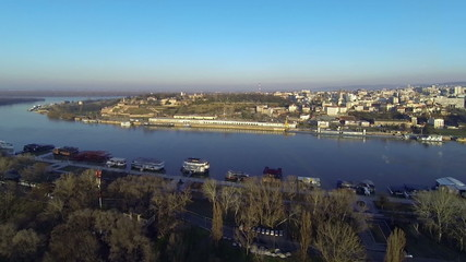 Aerial flight over Belgrade, Serbia