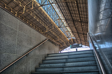 Stairs of a train station platform in