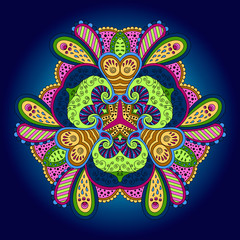 Colorful mandala on a blue background.