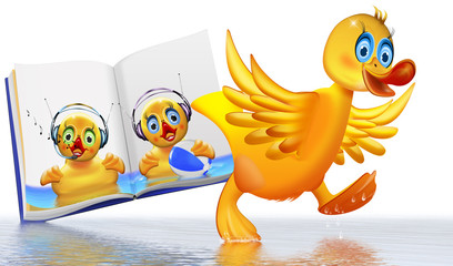 gelbe Ente, Quietscheentchen im Kinderbuch mit Ente auf Wasser