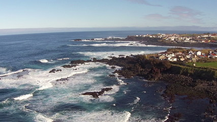 Flying over the Rocks and Ocean Waves, Mosteiros Sao-Miguel