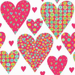 Cartoon hearts seamless pattern. Valentines day card design.