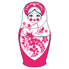 Funny vector cartoon colorfull russian traditional doll - matres