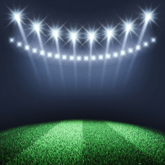 Sports arena spotlights and turf , Stadium