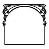 square decorative frame in the art Nouveau style - 76739827