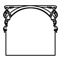square decorative frame in the art Nouveau style