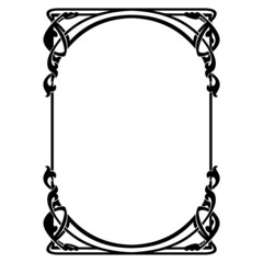 rectangular decorative frame with art Nouveau ornament