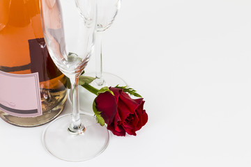 Valentines Day rose with champagne and flutes